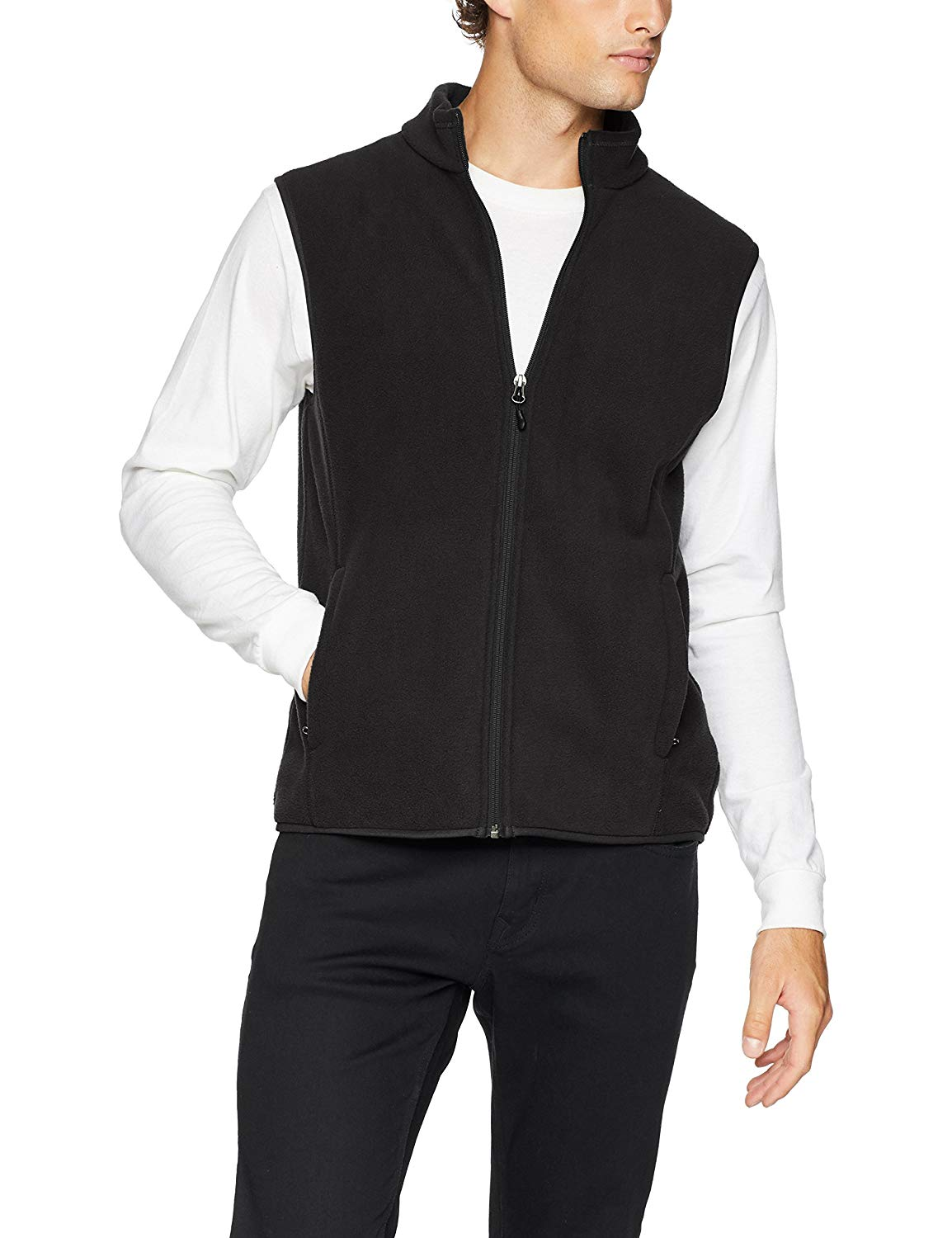 Amazon Essentials Men's Standard Full-Zip Polar Fleece Vest,
