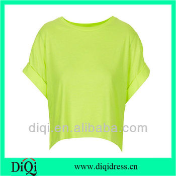 7c788284b Fashion ladies light green color t-shirts with roll sleeve women plain tops  tee