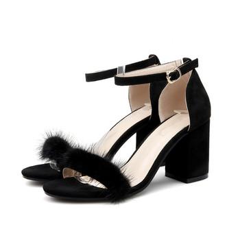 6c2a39467289 cheelon shoe 2017 trendy design summer fur shoes thick heel comfortable  open toe ladies high heel