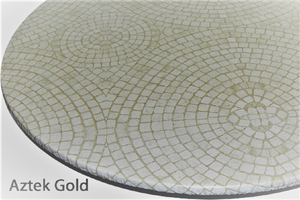 """Table Cloth Round Bistro 24"""" to 33"""" Elastic Edge Fitted Vinyl Table Cover Circle Mosaic Pattern Gold"""