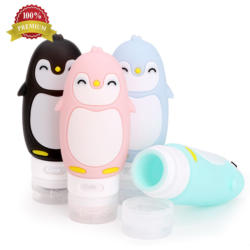 Cosmetic 100Ml Food Grade Silicone Squeeze Leak Proof Shampoo Kit Travel Silicone Bottle Set, Black;pink;pastel blue;blue green