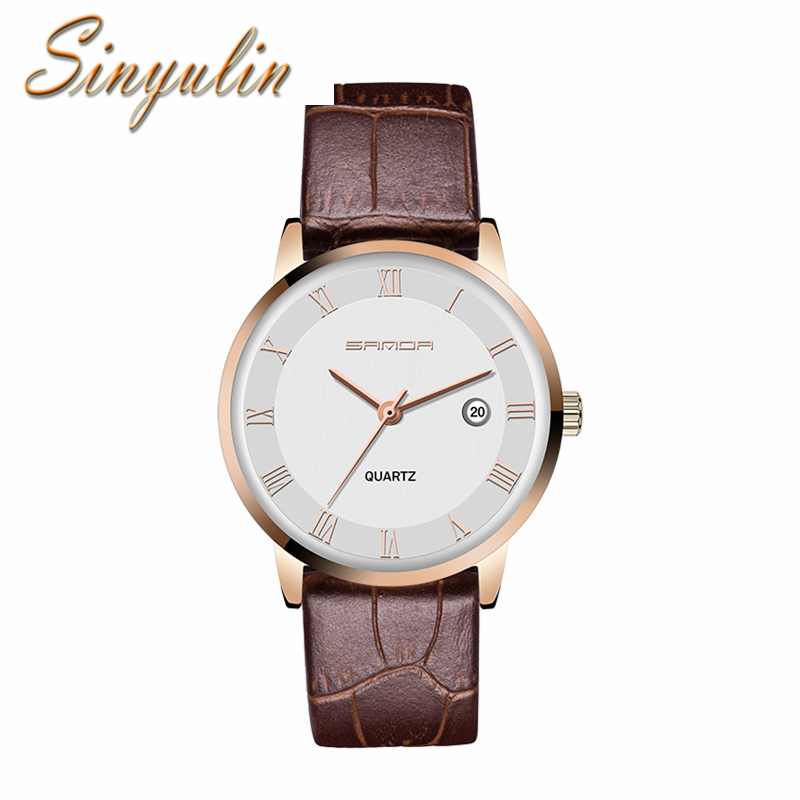2016 New Luxury Brand Business Watch Genuine Leather Lovers Quartz Watches for Men and Women relojes de los pares
