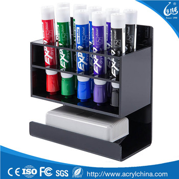 2 Tier Black Acrylic Dry Erase Whiteboard Marker And