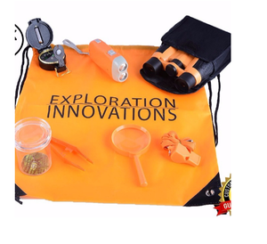 Outdoor Adventure Kit for Kids : Binoculars, Compass, Flashlight, Magnifying Glass, Carry Bag, Whistle, Tweezers, bug catcher
