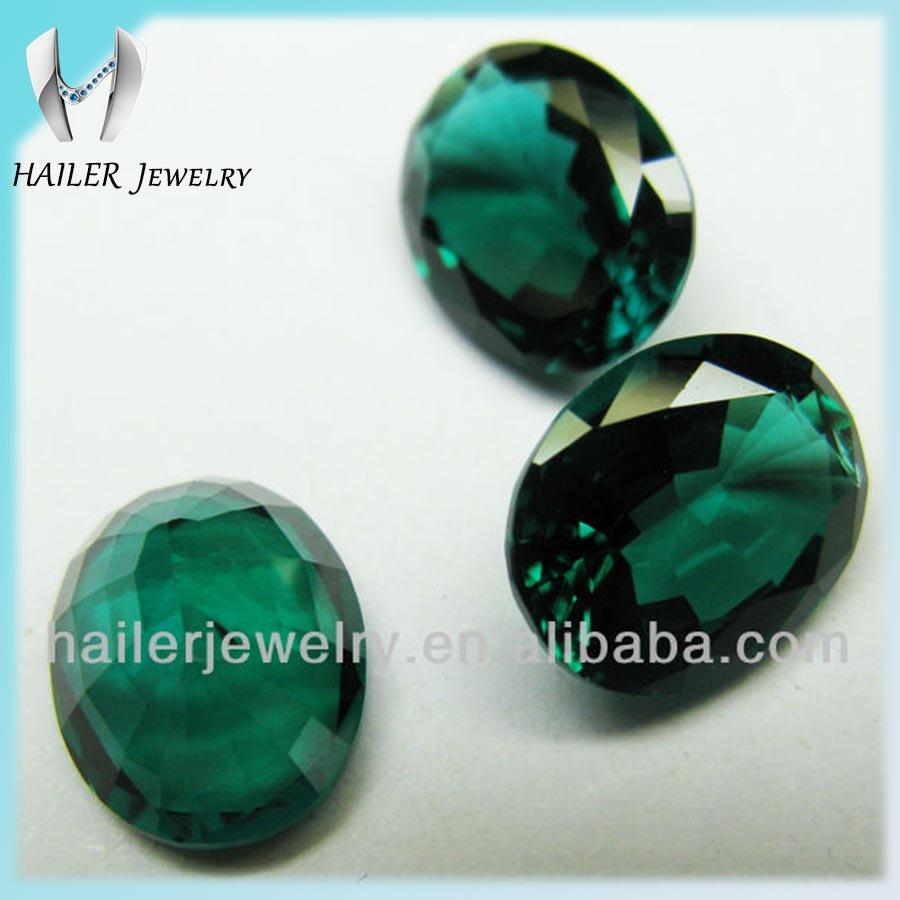 Couleur Vert Emeraude Foncé pierre synthétique ovale vert Émeraude en vrac couleur vert