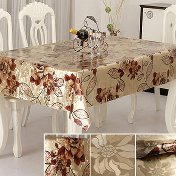 2018 New Design PVC Double Side Embossed Gold Elegant Table Cloth Factory