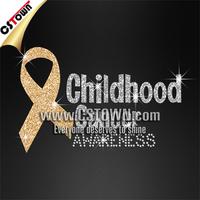 Gold vinyl iron on cancer ribbon childhood cancer awareness rhinestone glitter iron on letters