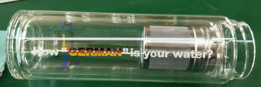 Bpa doppia parete riutilizzabile 500 ml commercio all'ingrosso design elegante bocca tè cinese bottiglie di acqua di vetro con filtro