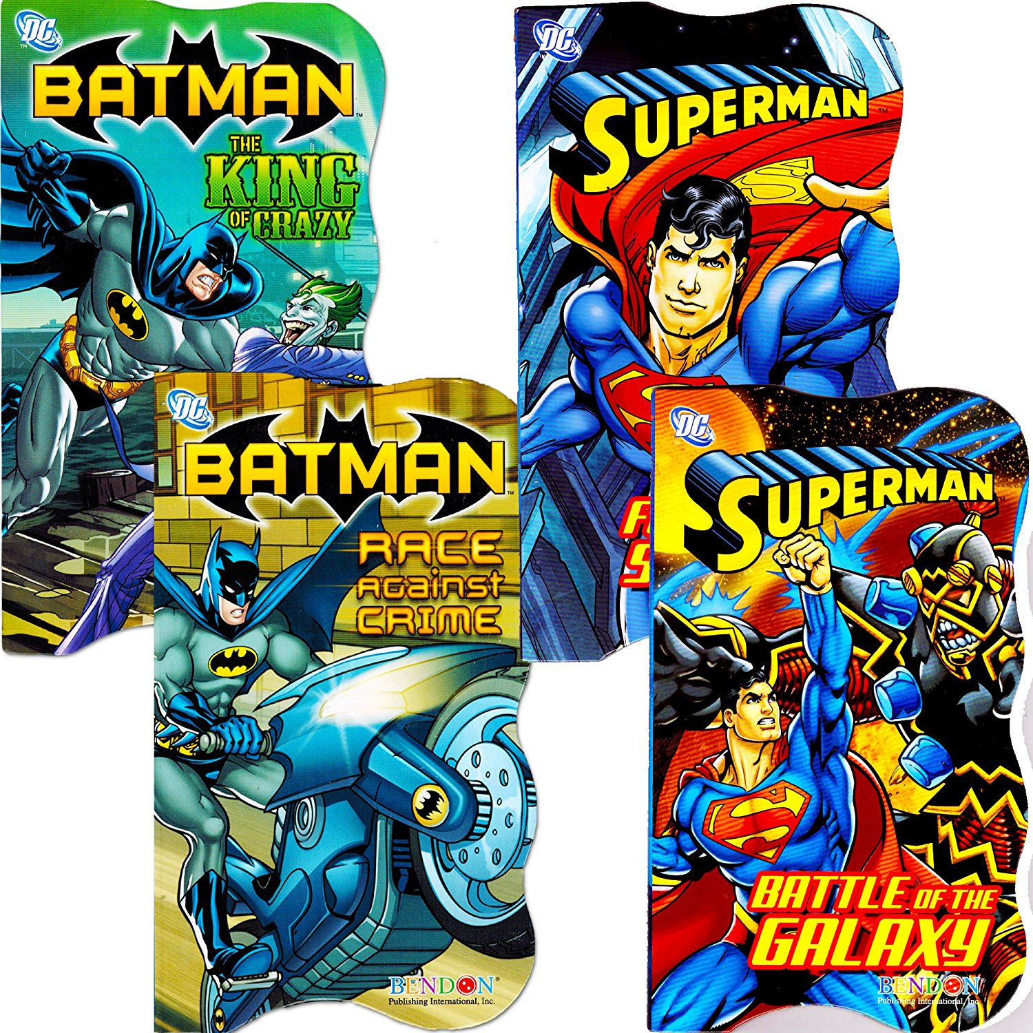 DC Comics Batman vs Superman Board Books for Toddlers - Set of Four Books (2 Batman Books, 2 Superman Books)