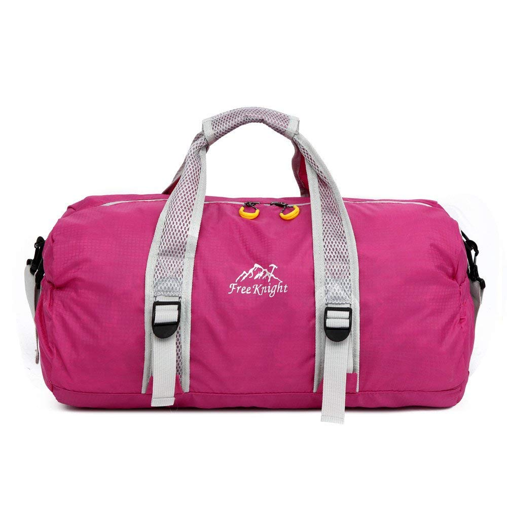 Camping Waterproof Ultralight Folding Bag, YiMiky Nylon Gym Yoga Sport Adjustable Training Bag Luggage Hiking Travel Shoulder Handbag Fitness Unique Durable Fashionable Outdoor Women Bag(Rose Red)