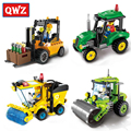 QWZ City Series Road Roller Forklift Truck Tractor Sweeper Truck Model Building Blocks DIY Educational Assembled