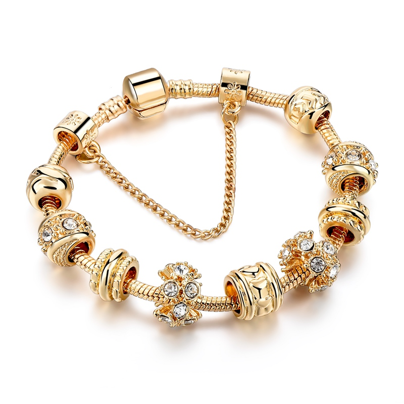 Fashion jewelry gold plated metal beads bracelet with crystal ,charm bracelet for women фото