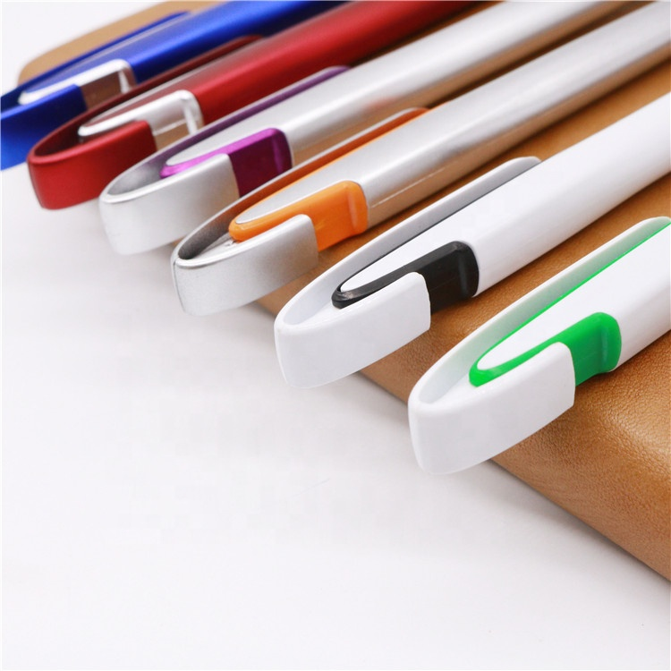 Custom promotional white pen with logo