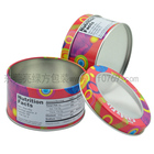 beautiful round tin can with window for gift package