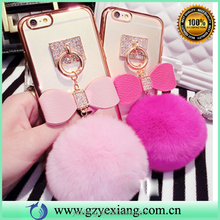 Cell phone accessories lovely fur ball tpu back cover case for vivo y35 case cover