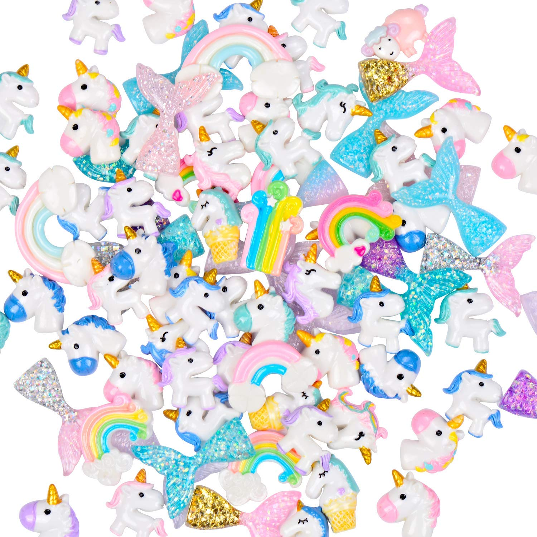 TSLIKANDO 90pcs Slime Charms with Mermaid Tails/Unicorns/Rainbows Slime Beads Resin Flatback for Scrapbooking DIY Crafts