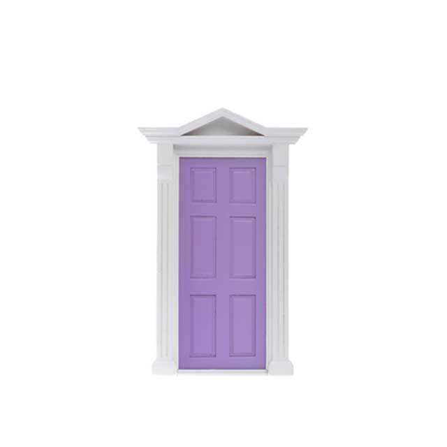 Purple Interior Wood Door With Metal Hardware Assembled For 1:12Scale Dollhouse
