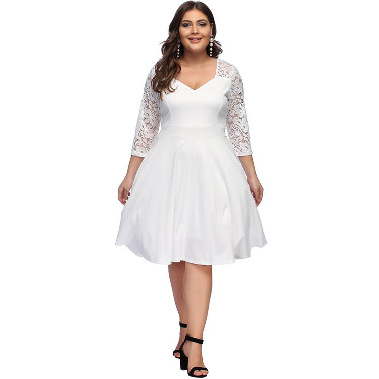 Autumn Fashion Lace Long Sleeve Midi Length Plus Size White Dress - Buy  White Dress,White Lace Dress,Midi Dress Product on Alibaba.com