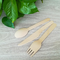 Disposable Airline Camping Travel Portable Bamboo Wooden Cutlery Set