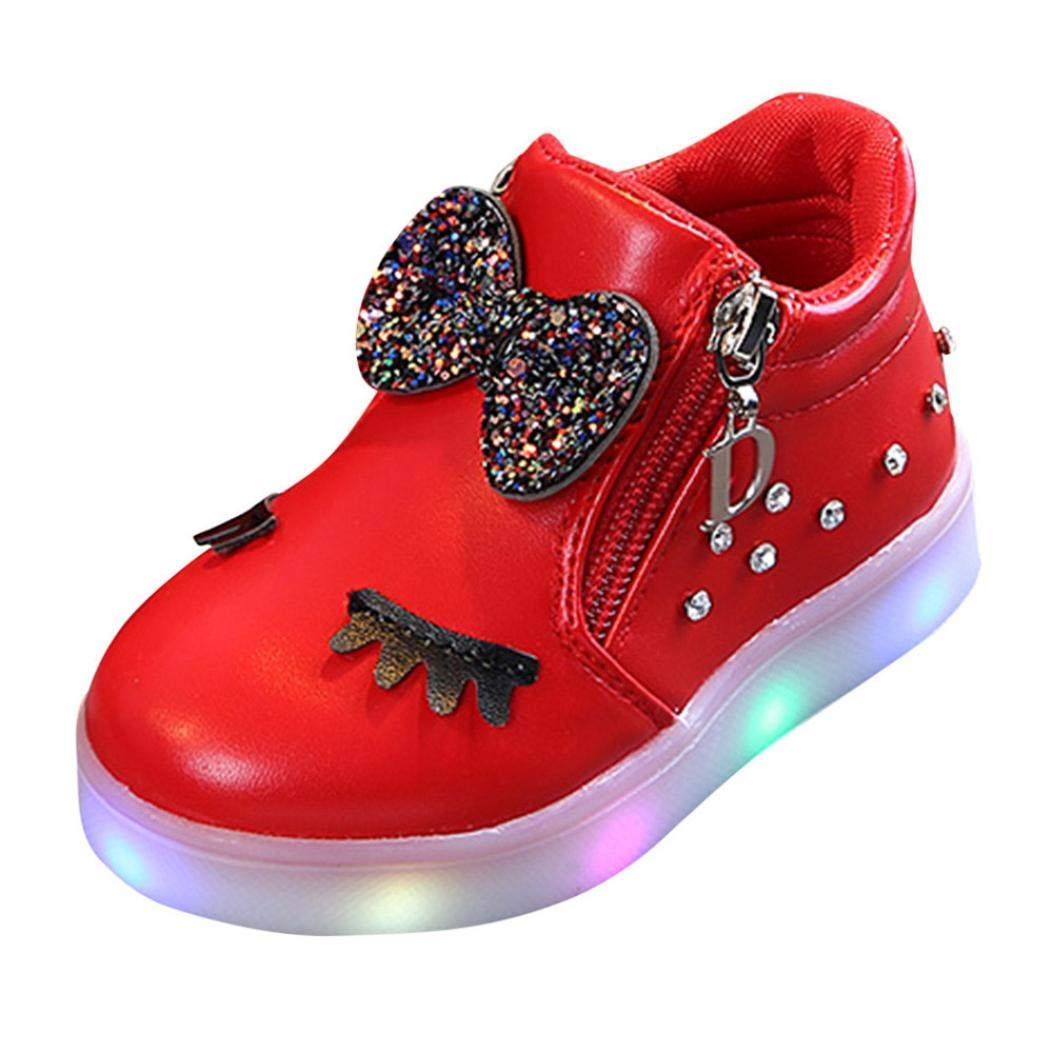 Infant Kids Crystal Bowknot LED Luminous Boots, Outsta Baby Girls Sport Shoes Anti-Slip Shoes Soft Sole Sneakers (US:5.5(Age:12-18M), Red)