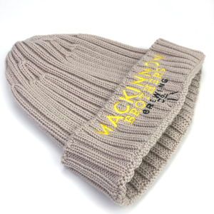 83dac010755 wholesale custom beanie OEM own embroidery logo 100% acrylic pom pom  Knitted Fashion OEM