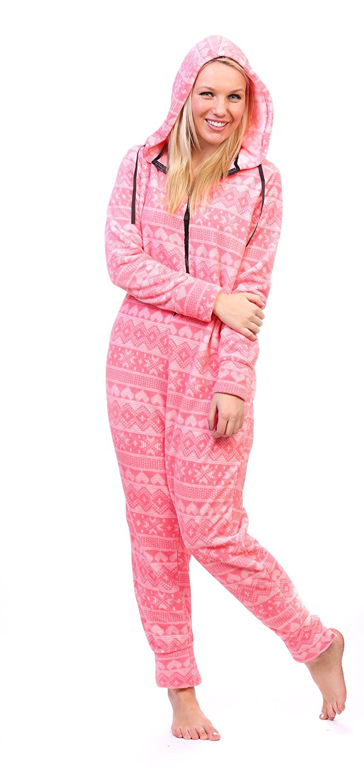 b7e372c00b Get Quotations · Totally Pink Women s Plush Warm and Cozy Character Adult  Onesie Pajamas Onesie