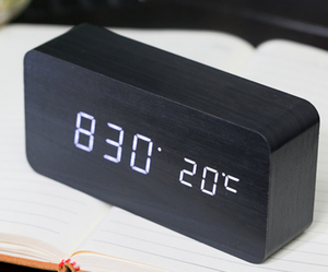 factory direct bedside desk calendar digital wooden led alarm desk clock radio alarm clock speaker hotel alarm clock radio