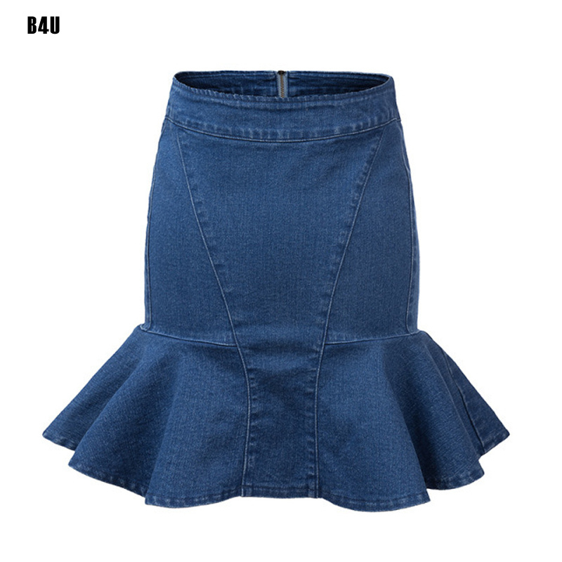 cfbb20f6a36 Get Quotations · 2015 Vintage Style Short High Waist Denim Skirt Casual  Classics Joker Women s Clothing Mermaid Jean Skirt