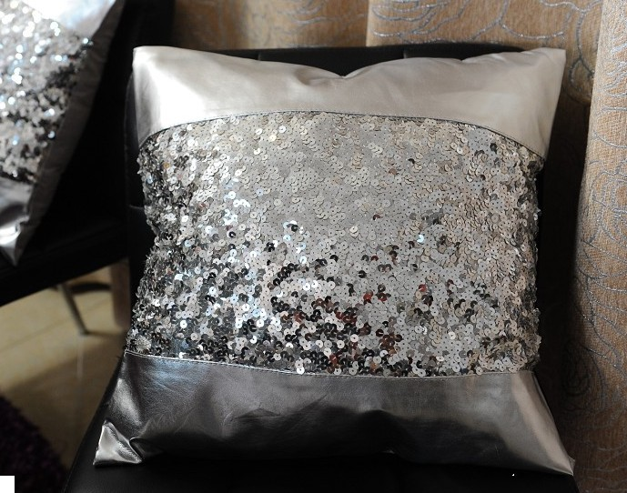 buy 506 luxury silver sequin pu patchwork cushion cover without filling sofa. Black Bedroom Furniture Sets. Home Design Ideas