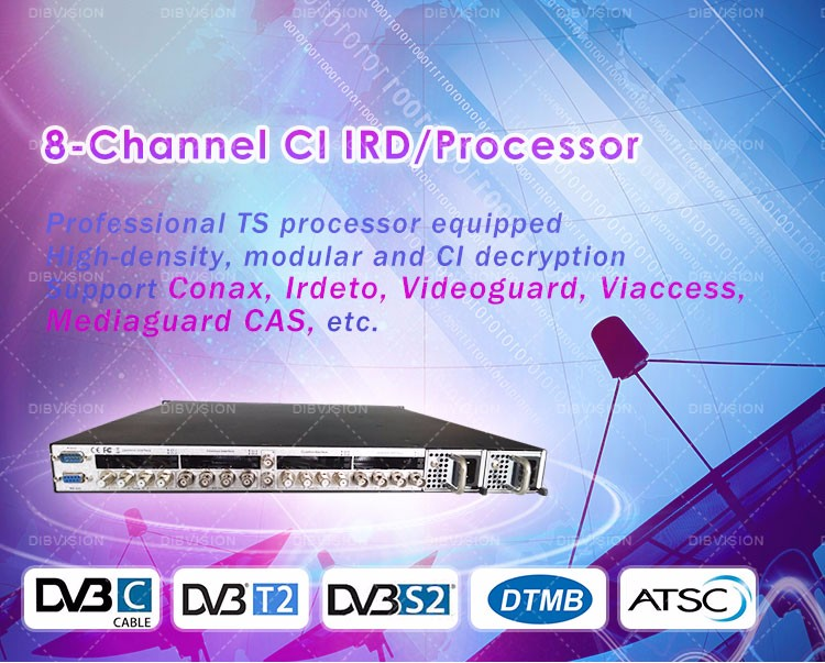 OTT/IPTV headend 8*DVB-S/S2/C/T/T2 to ASI/IP digital cable