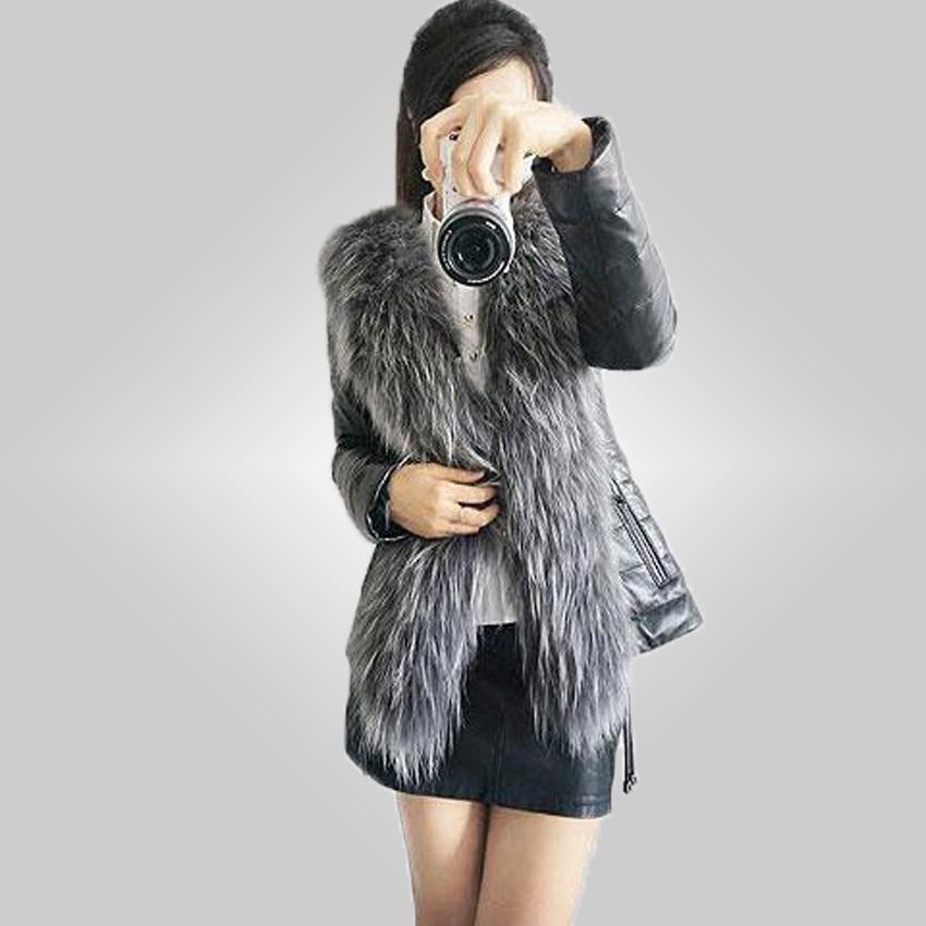 Бесплатная доставка 2015 зима новые продукты женская шуба тонкий полный рукав кожаной куртки женщин лисий мех верхняя одежда Большой размер 85