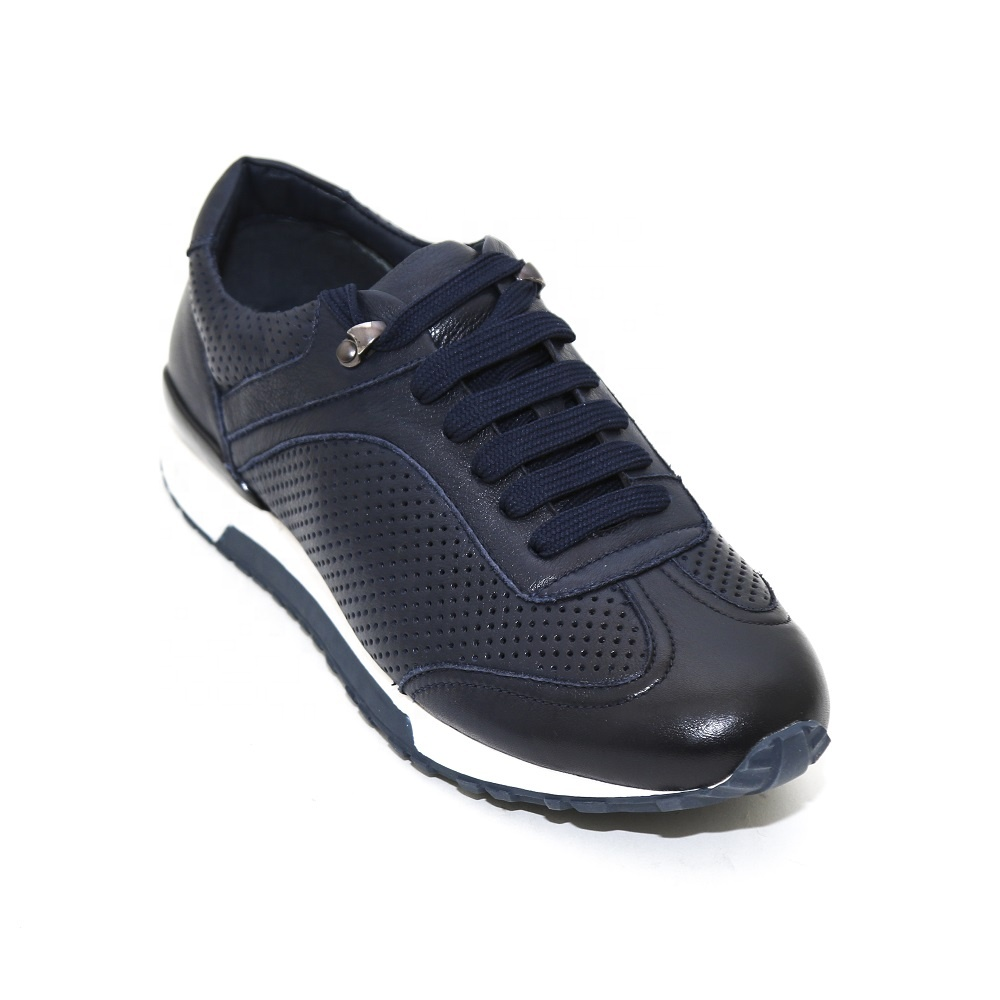 New design fashion casual shoes sneakers 숨 홀 shoes men genuine leather sport 화 black/blue