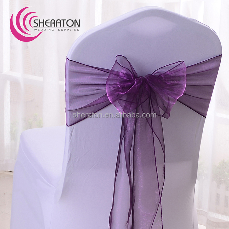 wholesale Fancy colorful organza chair sash for wedding chair cover decoration /voice chair sash factory price