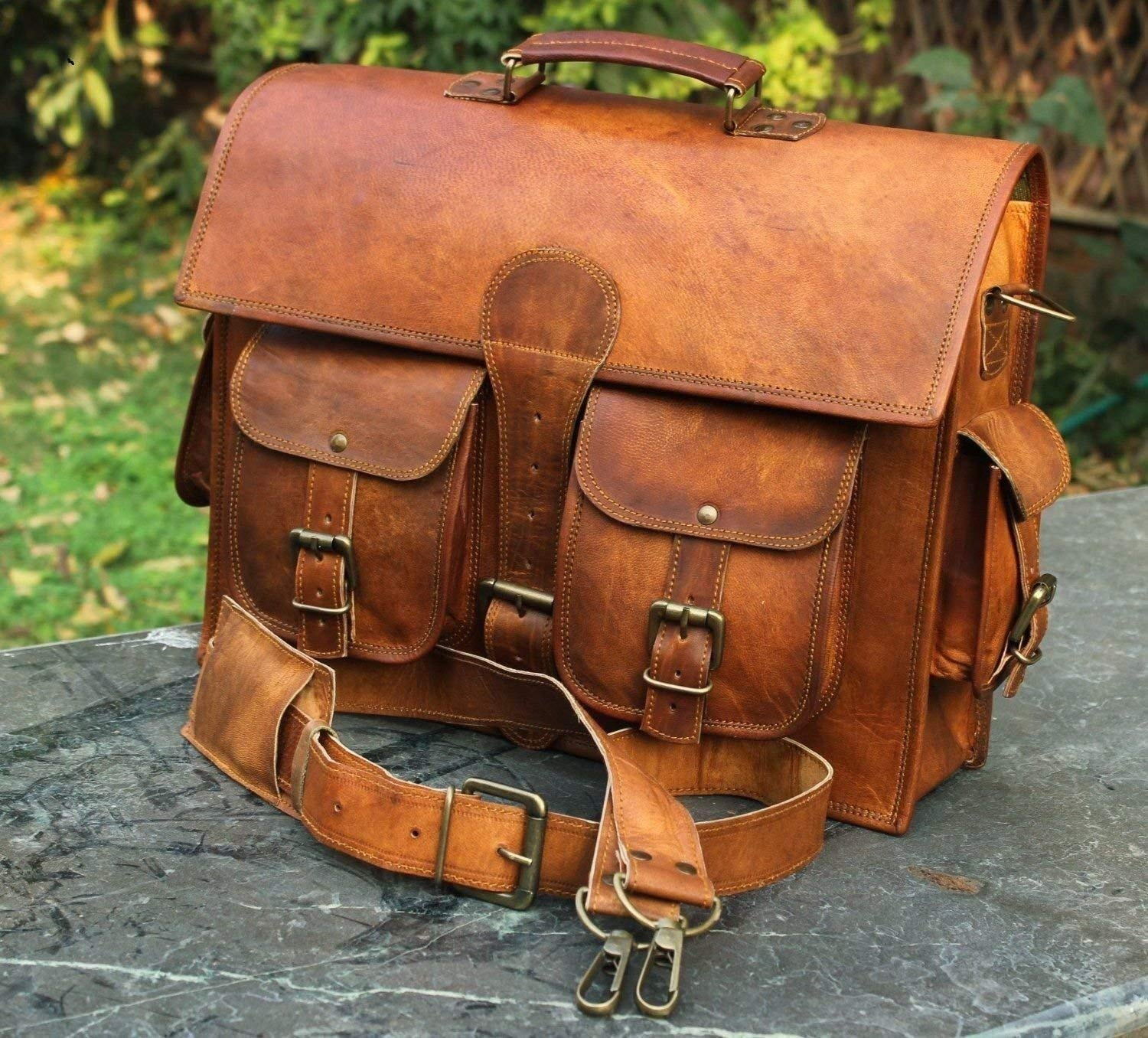 934af7af1c7 Get Quotations · Men s Genuine Leather Vintage Laptop Messenger Handmade  Briefcase Bag Satchel DHK