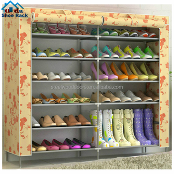 Custom adjustable double row shoe rack canvas fabric shoe rack
