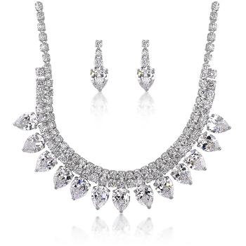 elegant wedding jewelry women white gold zircon necklace set view