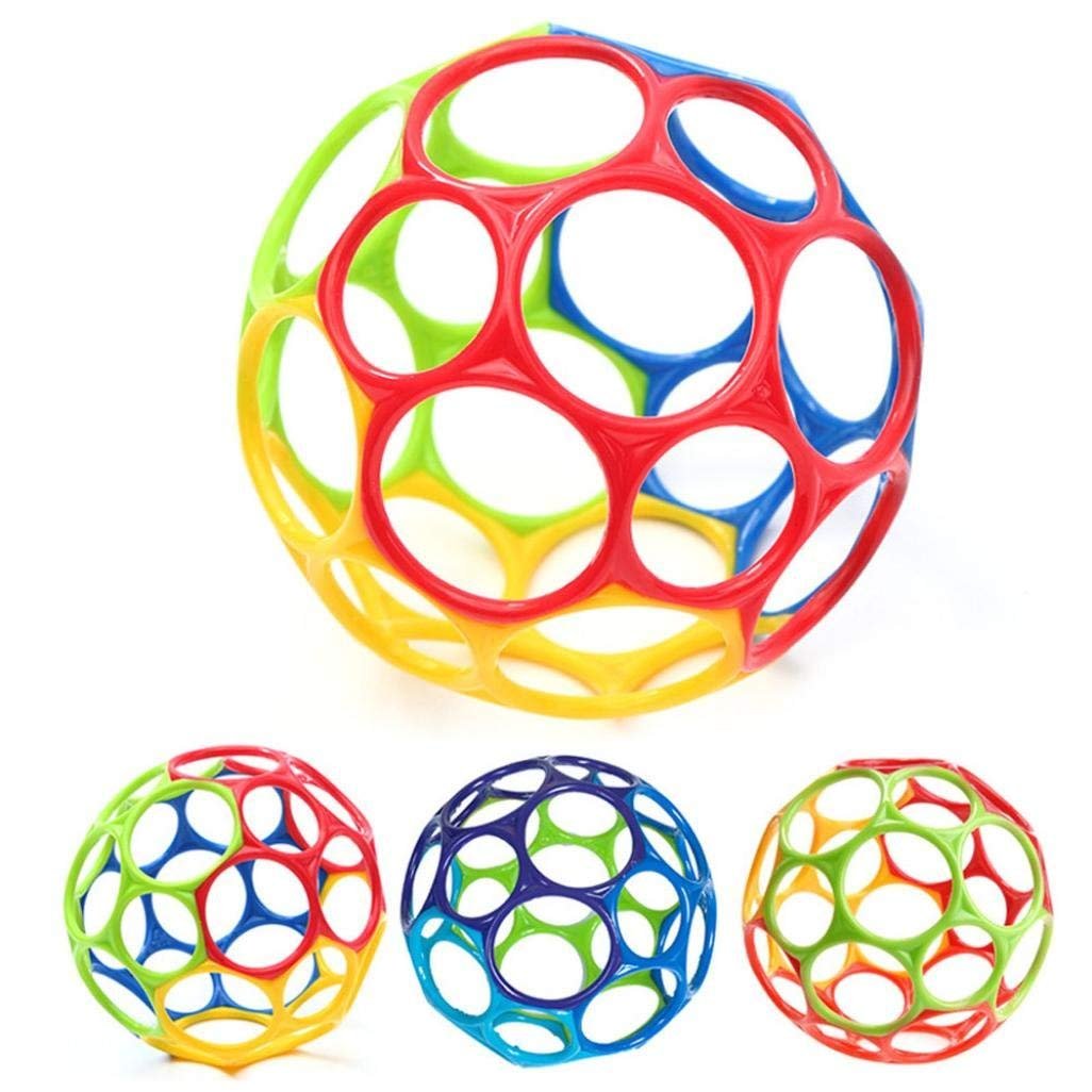 Gbell Baby Infants Rattle Pliable Ball, Toddlers Grasping Rattle Ball, Exquisite Ball Educational Toys for Baby Boys Girls,11Cm,Random Color