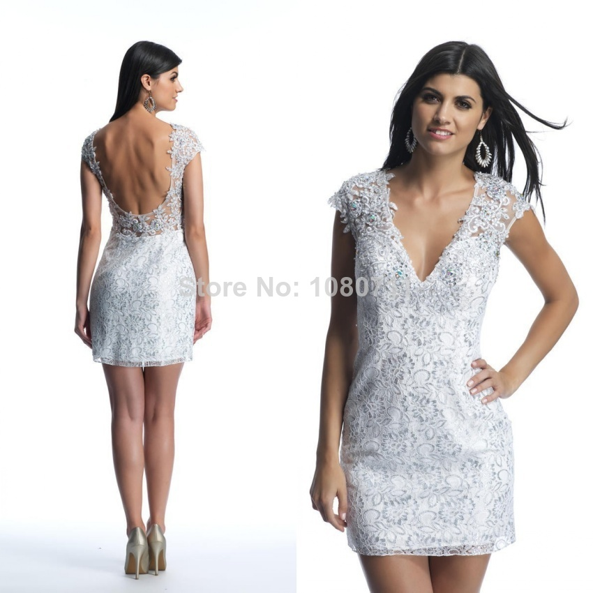 Stunning V-Neck Sheath Short/Mini Cocktail Dresses 2014 Lace Prom Party Gown with Sexy Open Back Custom made Elegant