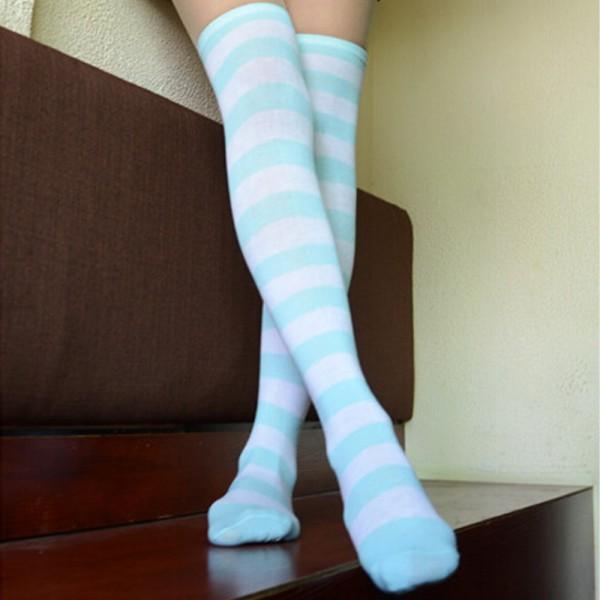 Мода сексуальные женщины девушка бедро высокие полосатые над коленом хлопок чулки