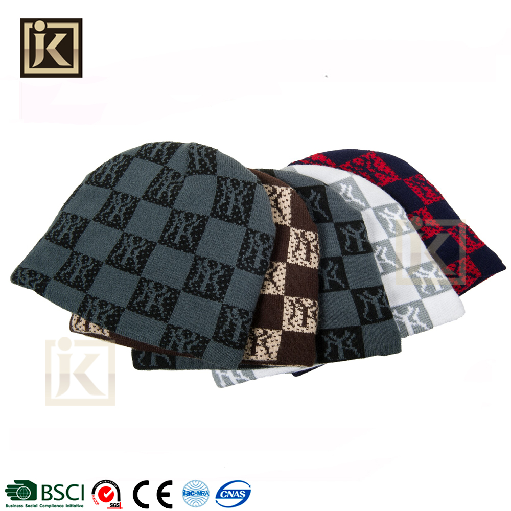 JAKIJAYI 100%acrylic funny caps knitting machines printing warm winter hat