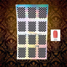 1PC Flash Hollow Nail Foil Fish Scale Pattern Nail Manicure Art Polish Painting Tool Template Decal