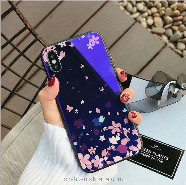 Cartoon fresh red flowers blue light shockproof soft tpu toughened glass mobile phone black cover case for iphone x 8 7 plus