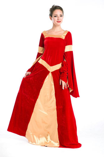 Get Quotations · Free Shipping High Quality Hot Selling Halloween Carnival Medieval  Costume Women Fancy Fantasias Long Red Dress 4caf6378c980