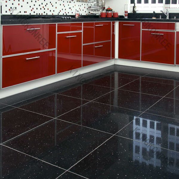 Glitter Kitchen Floor Tiles: Noir Artificielle Quartz Carrelage Avec Paillettes-Pierre