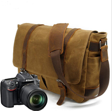 Chuanye Professional Manufacturing Vintage Leather Waterproof Digital DSLR Waxed Canvas Camera Bag