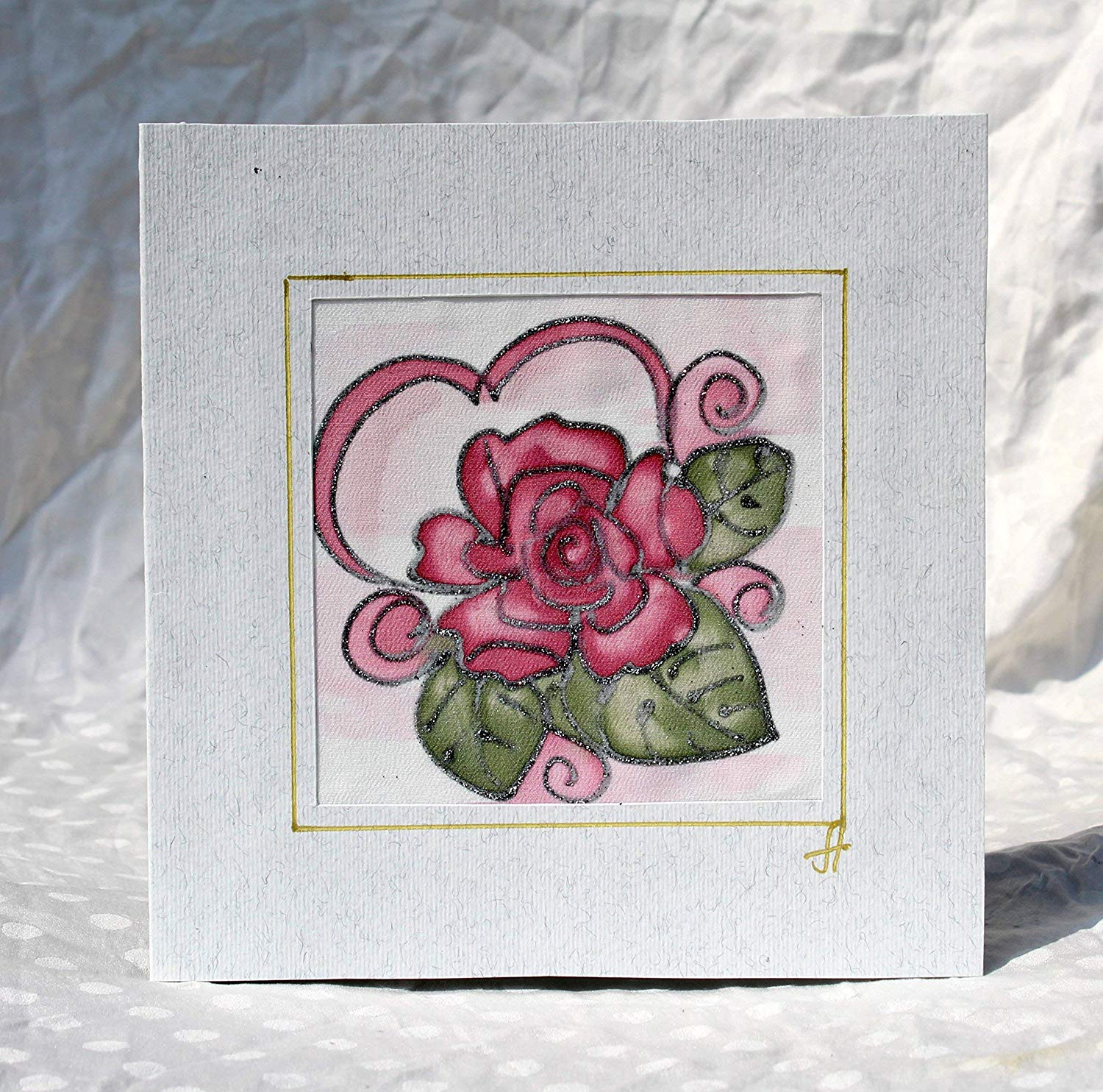 Personalized Red Rose,Rose Wedding Card,Unusual wedding card,Original Batik Greeting Card, Handpainted Rose Silk Card,Red Rose Greeting Card,Wedding Invitation.