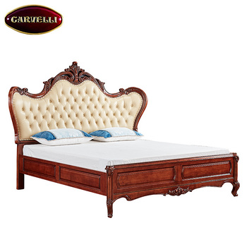 118-e Factory Offer Luxury King Size Dark Brown Wooden Leather Bed ...