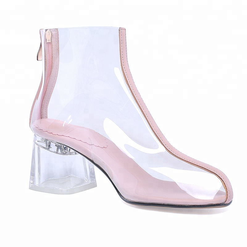 Hot Sale factory transparent PVC Transparent clear sandals high <strong>heels</strong> women