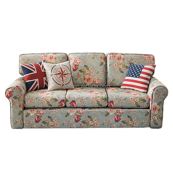 European Livingroom Furniture GL6051B Flower Fabric Divan Bed Sofa