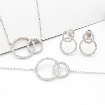Europe Fashion 925 Sterling Silver Jewelry Double Hoop Necklace Earring Bridal Jewelry Set With Gemstone